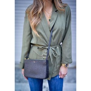 Topshop Military Green Belted Jacket